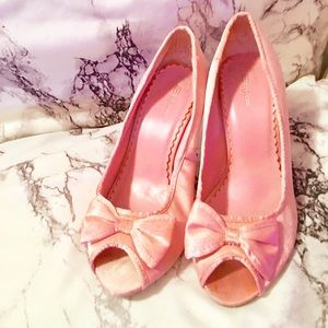 🎀🎆Princess Pink Satin Classic Heels with Bow🎆🎀